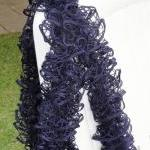 Fishnet Scarf, Navy Lace S..