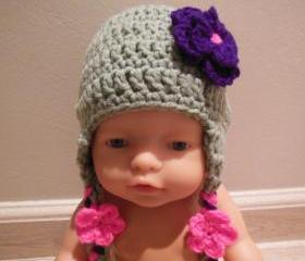 Crochet baby hat with flower, gray, pink , purple