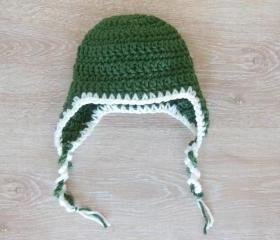 Olive green crochet baby hat