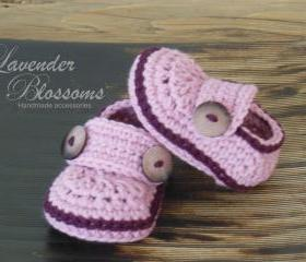 Pink Baby Booties Crochet baby booties baby button loafers