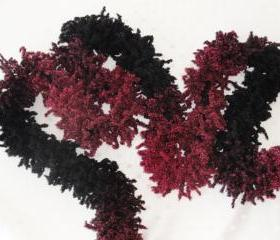 Ruffle Scarf, Hand Knitted. Fuzzy scarf