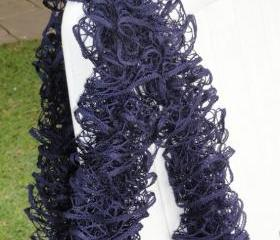 Fishnet Scarf, Navy lace scarf